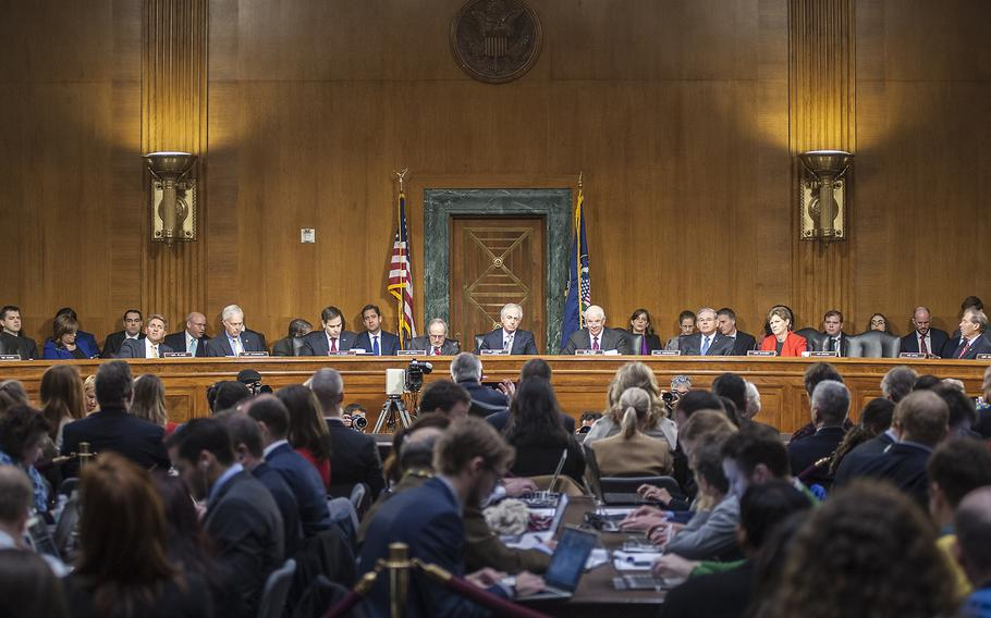 The Senate Foreign Relations Committee hearing room was jam-packed with media personnel and spectators Wednesday, Jan. 11, 2017, as members questioned Rex Tillerson, President-elect Donald Trump's nominee to become the next secretary of state.