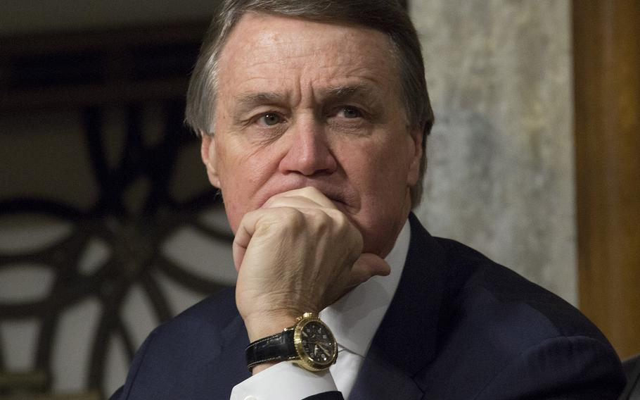 Sen. David Perdue, R-Ga., at a Senate Armed Services Committee hearing in January, 2017.