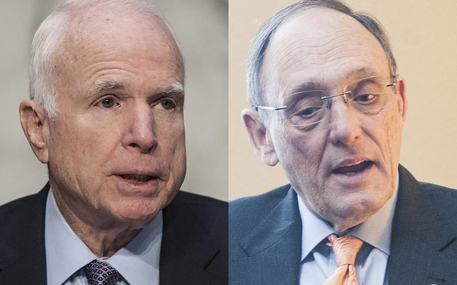 At left, Sen. John McCain, R-Ariz., chairman of the Senate Armed Services Committee and Rep. Phil Roe, R-Tenn., chairman of the House Committee on Veterans' Affairs.
