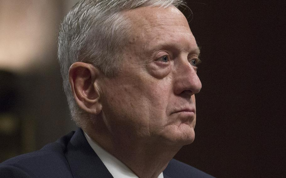 Retired Gen. James Mattis listens to opening statements during his secretary of defense confirmation hearing on Capitol Hill, Jan. 11, 2017.