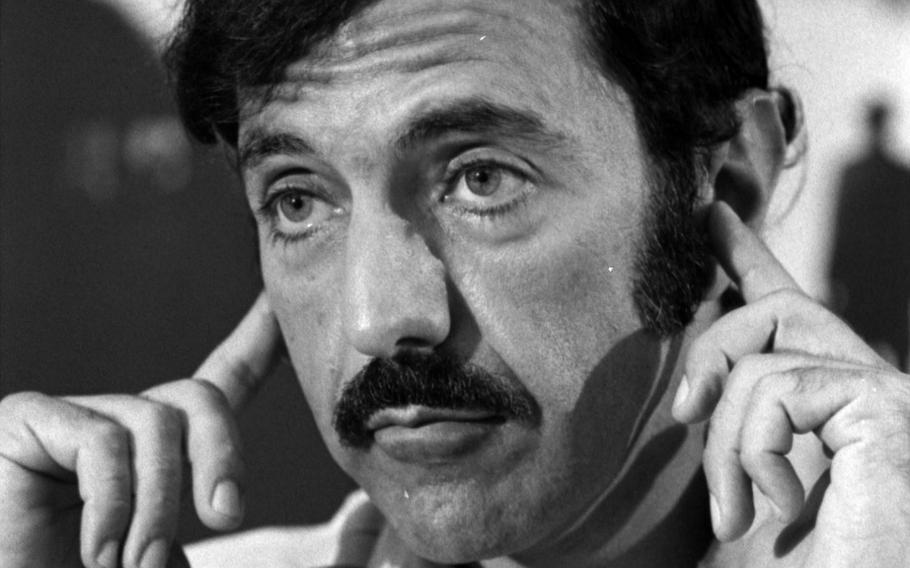 """""""The Exorcist"""" author William Peter Blatty at a news conference in Tokyo in 1974."""