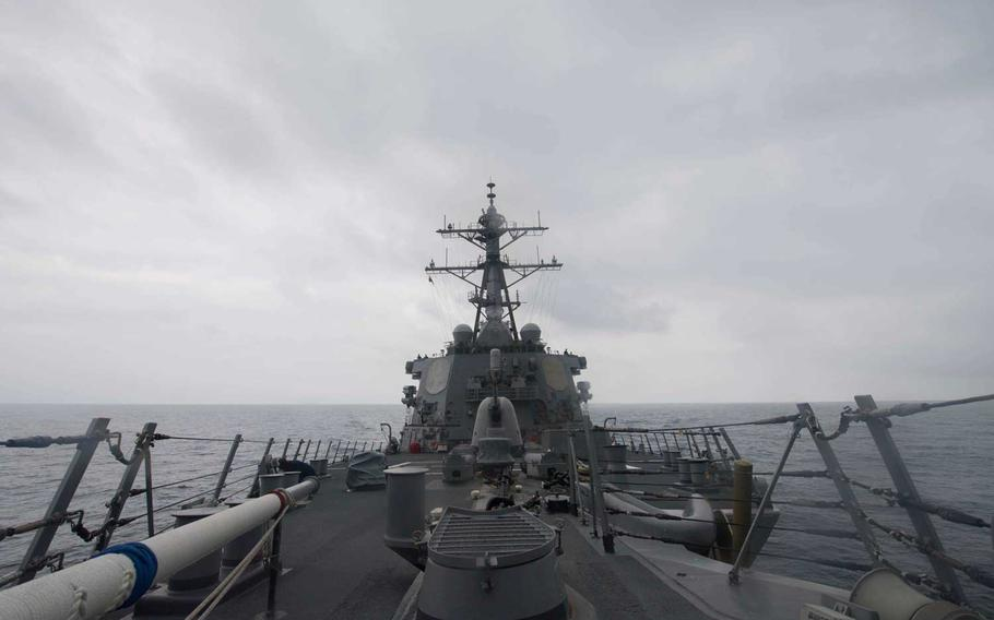 The USS John S. McCain, a guided-missile destroyer, patrols the South China Sea Jan. 7, 2017. China hawks would like to see the U.S. military under the Donald Trump administration take a more confrontational approach with China in the South China Sea.