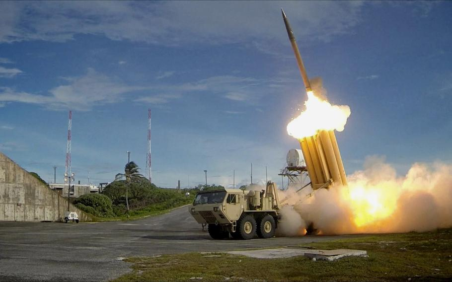 The first of two Terminal High Altitude Area Defense interceptors is launched during a successful intercept test.