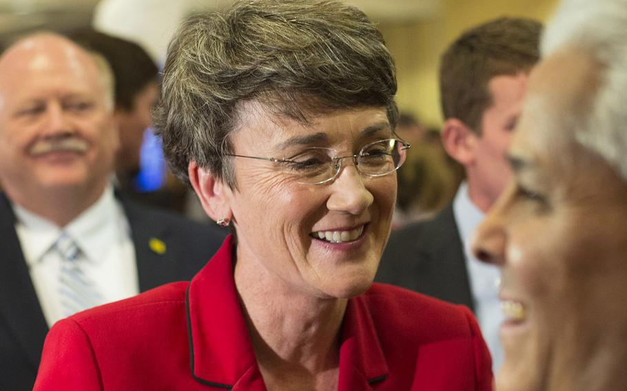 A Nov. 6, 2012 file photo of Heather Wilson at an event in Albuquerque, N.M. President Donald Trump has nominated Wilson to be secretary of the Air Force.