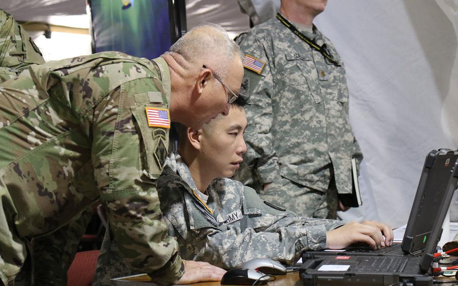 Soldiers from the 25th Infantry Division out of Hawaii participate in the U.S. Army's Cyber Blitz April 2016 at Joint Base McGuire-Dix-Lakehurst, N.J.