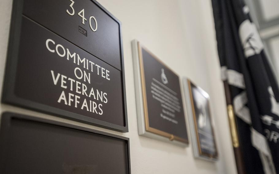 Outside the hearing room for the House Committee on Veterans Affairs at the Cannon Building on Capitol Hill in Washington, D.C., on Thursday, Feb. 16, 2017.