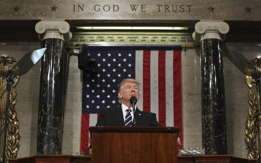 President Donald Trump addresses a joint session of Congress on Capitol Hill in Washington, Tuesday, Feb. 28, 2017.