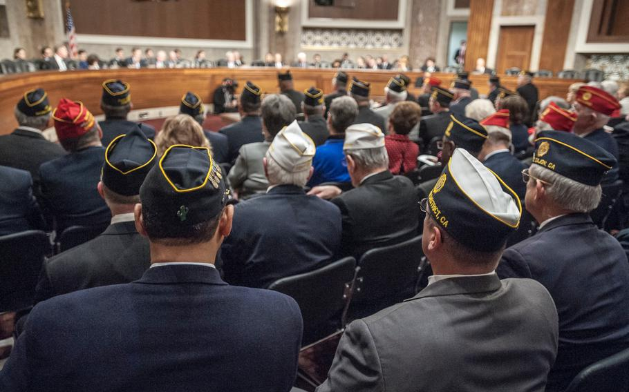 Hundreds of American Legion members attend a a presentation on Capitol Hill on Wednesday, March 1, 2017, as members of Congress heard testimony on issues of concern to military veterans.