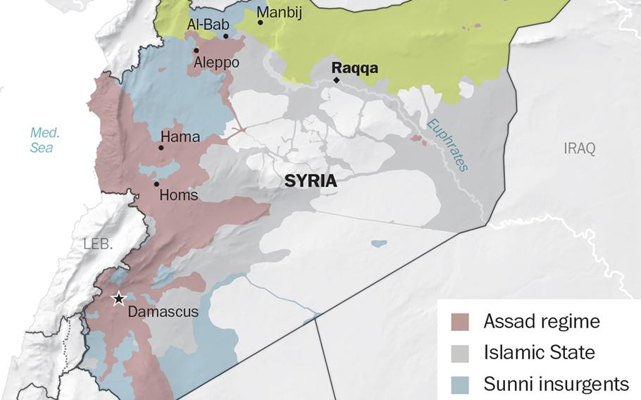 A map showing who's in control of various parts of Syria, as of February 27.