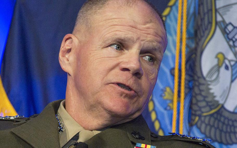 In a Feb. 23, 2017 file photo, Commandant of the Marine Corps Gen. Robert B. Neller speaks at the West Conference in San Diego, Calif.