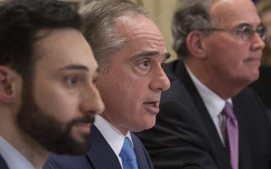 Secretary of Veterans Affairs Dr. David Shulkin, center, testifies at a House Committee on Veterans' Affairs hearing on Capitol Hill, March 7, 2017. Others testifying included Dr. Baligh Yehia, left, the Veterans Health Administration's deputy under secretary for health for community care, and VA Inspector General Michael J. Missal, right.