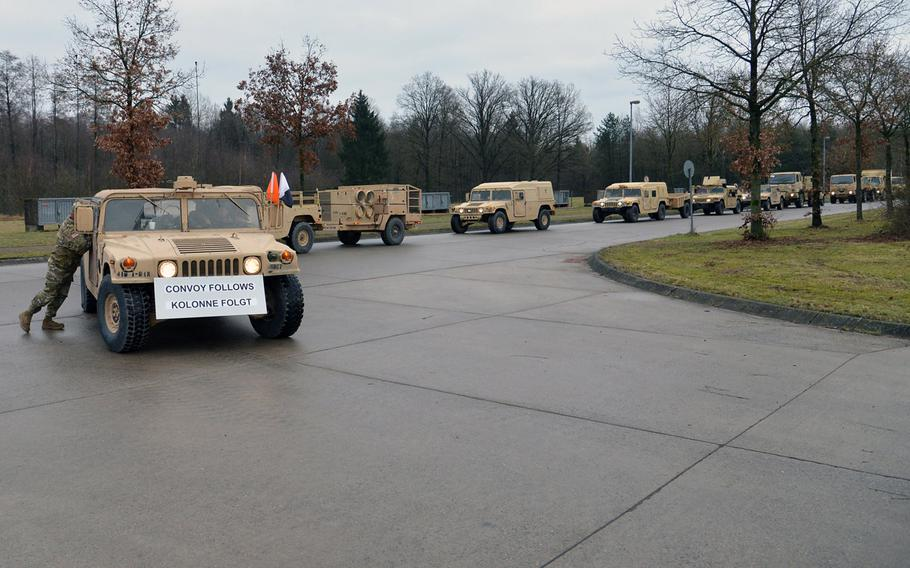 A convoy of  the 3rd Armored Brigade Combat Team, 4th Infantry Division arrives at the Bergen-Hohne near Bergen, Germany, on Jan. 9, 2017. The Army is scouting places in Germany, including Bergen, as possible locations for basing more soldiers in the event the Pentagon elects to add forces in Europe.