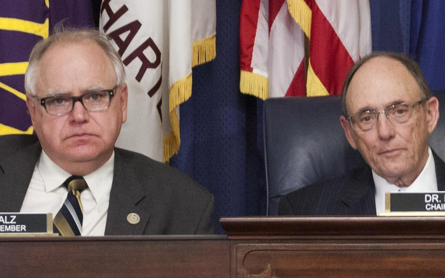 House Committee on Veterans' Affairs Chairman Phil Roe, R-Tenn., right, and Ranking Member Tim Walz, D-Minn., listen to testimony at a hearing on Capitol Hill, March 7, 2017.