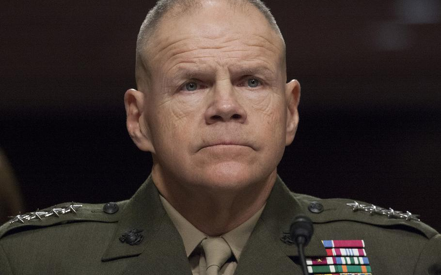 Marine Corps Commandant Gen. Robert B. Neller listens to opening statements during a Senate Armed Services Committee hearing on the Marines United social media controversy, March 14, 2017 on Capitol Hill.