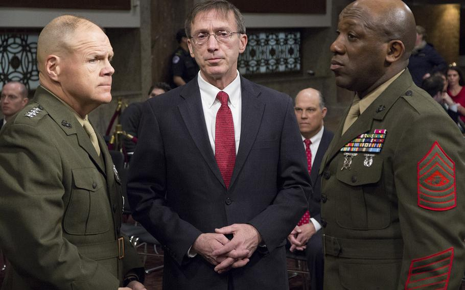 Marine Corps Commandant Gen. Robert B. Neller, Acting Secretary of the Navy Sean J. Stackley and Sergeant Major of the Marine Corps Ronald L. Green await the start of a Senate Armed Services Committee hearing on the Marines United social media controversy, March 14, 2017 on Capitol Hill.