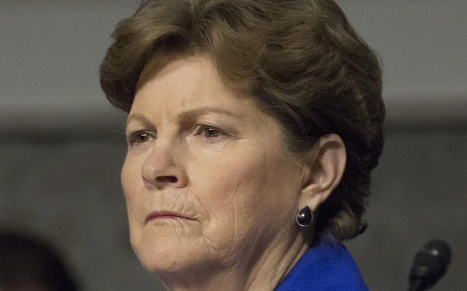 Sen. Jeanne Shaheen, D-N.H., listens to testimony during a Senate Armed Services Committee hearing on the Marines United social media controversy, March 14, 2017 on Capitol Hill.