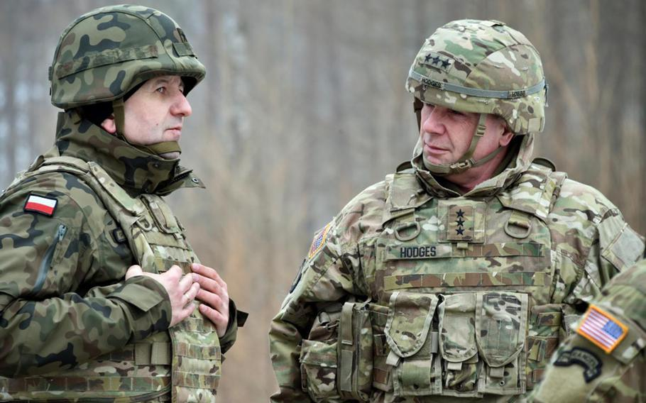 Brig. Gen. Jaroslaw Gromadzinski, left, commander of the 15th Mechanized Brigade (Poland), and Lt. Gen. Ben Hodges, commander of the U.S. Army Europe, attend a training exercise at Grafenwoehr Training Area, Germany, on Jan. 31, 2017. Hodges said there are no plans yet for a military expansion in Europe.