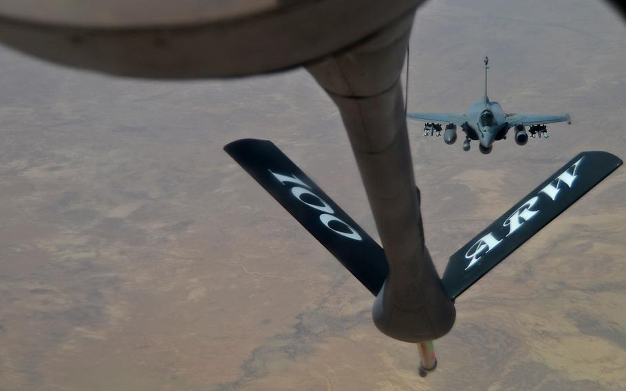 A French Dassault Rafale fighter aircraft flies toward a KC-135 Stratotanker assigned to RAF Mildenhall, England, during a refueling mission in support of Operation Juniper Micron over North Africa, Feb. 26, 2016.