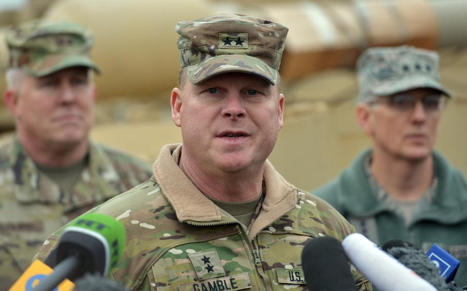 Maj. Gen. Duane Gamble, commander of the 21st Theater Sustainment Command, speaks to the media in Bremerhaven, Germany, Sunday, Jan. 8, 2017. Gamble will be heading to U.S. Army Sustainment Command, Rock Island, Illinois. He will be replaced by Maj. Gen. Steven A. Shapiro.