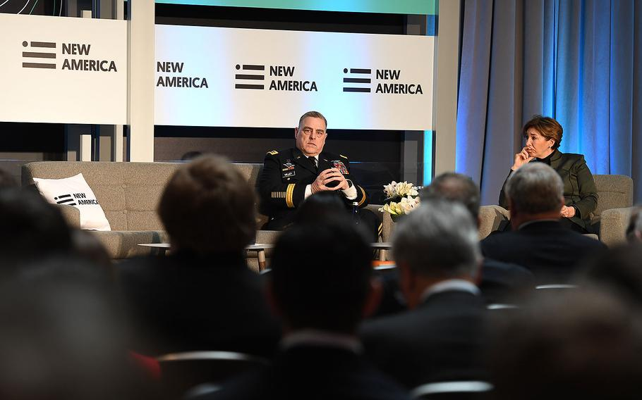 U.S. Army Chief of Staff Gen. Mark A. Milley addresses the New America Future of War Conference hosted by Ann-Marie Slaughter, in the Ronald Regan Building and International Trade Center, Washington, D.C., March 21, 2017.