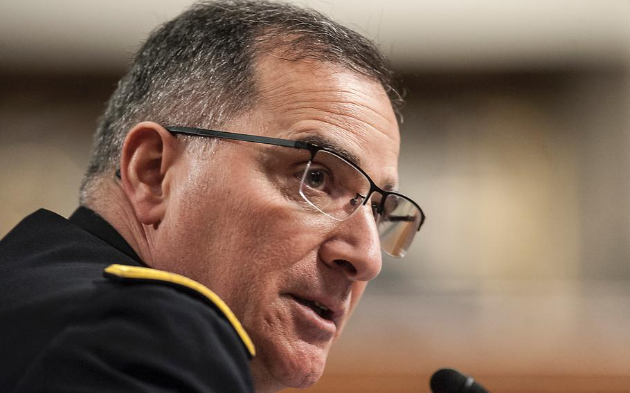 """Commander of the U.S. European Command Army Gen. Curtis Scaparrotti testifies during a Senate Committee on Armed Services hearing on Capitol Hill on Thursday, March 23, 2017. In his prepared statement assessing the risks and challenges in the EUCOM theater, Scaparrotti noted that """"Russia has repeatedly violated international agreements and treaties that underpin European peace and stability."""""""