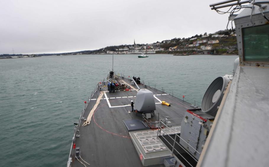 USS Donald Cook arrives in Cobh, Ireland, March 21, 2017.