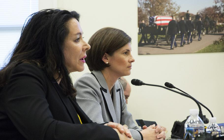 Karen Durham-Aguilera, executive director of Army National Military Cemeteries, left, and Katharine Kelley, superintendent of Arlington National Cemetery, testify at a Senate Appropriations Committee military construction, VA and related agencies subcommittee hearing at the cemetery's visitors center, March 29, 2017.