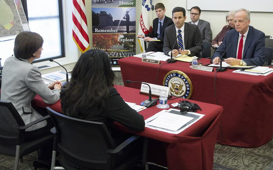 Senate Appropriations Committee military construction, VA and related agencies subcommittee Chairman Sen. Jerry Moran, R-Kan., right, and Ranking Member Sen. Brian Schatz, D-Hawaii, listen to testimony at a hearing March 29, 2017 at Arlington National Cemetery.