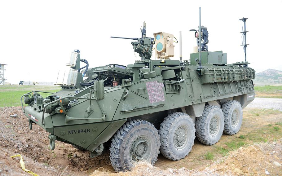 This Mobile High-Energy Laser-equipped Stryker was evaluated, April 12, during the 2017 Maneuver Fires Integrated Experiment at Fort Sill, Oklahoma. The MEHEL can shoot a drone out of the sky using a five kilowatt laser. C. Todd Lopez/U.S. Army