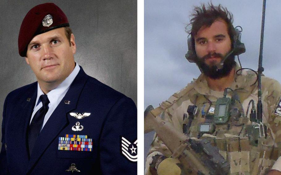 Retired Master Sgt. Keary Miller, left, and Staff Sgt. Christopher Baradat are among those who have had their awards upgraded from Silver Stars to Air Force Crosses as part of the Pentagon-wide review of more than 1,100 medals awarded across the services for the wars in Iraq and Afghanistan.