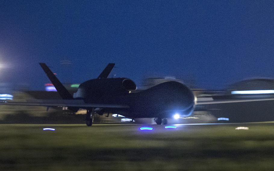 An RQ-4 Global Hawk from Andersen Air Force Base, Guam lands at Yokota Air Base, Japan on Monday, May 1, 2017.