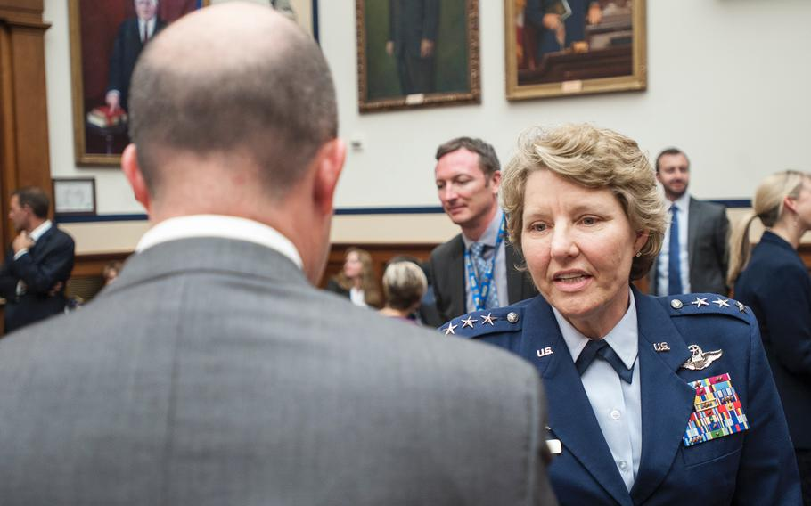 Lt. Gen. Michelle Johnson, the superintendent of the U.S. Air Force Academy at Colorado Springs, Colo., arrives for a House Armed Services subcommittee hearing on Tuesday, May, 2, 2017, as members prepared to hear testimony as part of an overview of an annual report on sexual harassment and violence at the military service academies.