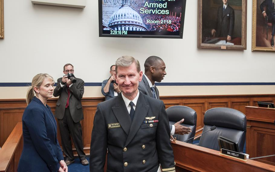 Vice Adm. Ted Carter, superintendent of the U.S. Naval Academy at Annapolis, Md., arrives for a House Armed Services subcommittee hearing on Tuesday, May, 2, 2017, as members prepared to hear testimony as part of an overview of an annual report on sexual harassment and violence at the military service academies.