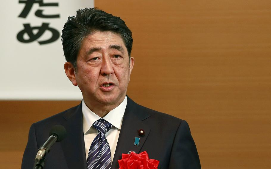 Japanese Prime Minister Shinzo Abe, pictured in Tokyo, Monday, May 1, 2017.