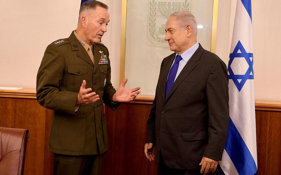 Gen. Joseph Dunford, chairman of the Joint Chiefs of Staff, meets Israeli Prime Minister Benjamin Netanyahu at his office in Jerusalem on May 9, 2017.