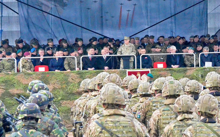 Gen. Curtis Scaparrotti, commander of European Command and Supreme Allied Commander in Europe, delivers a speech during a welcoming ceremony for soldiers from Battle Group Poland to kick off their deployment, April 13, 2017.