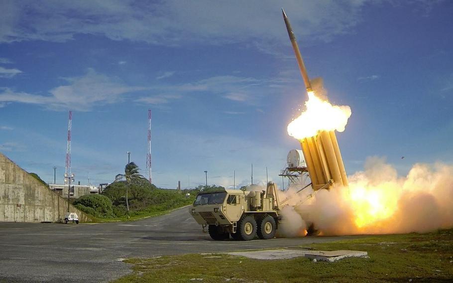 Two THAAD interceptors and a Standard-Missile 3 Block IA missile launch on Sept. 10, 2013,  in the vicinity of the U.S. Army Kwajalein Atoll/ Reagan Test Site and surrounding areas in the western Pacific. The test fire resulted in the intercept of two near-simultaneous medium-range ballistic missile targets. North Korea test launched a ballistic missile on May 14, 2017.