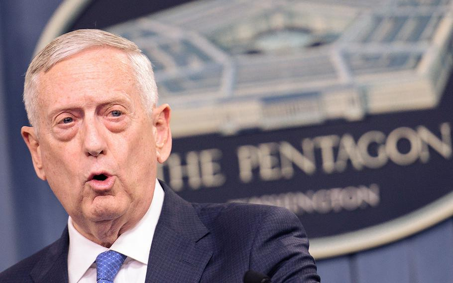 Defense Secretary Jim Mattis speaks with reporters at the Pentagon on Friday, May 19, 2017.