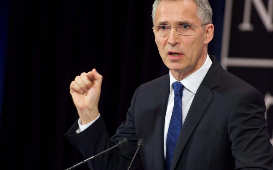 NATO Secretary-General Jens Stoltenberg speaks before a news conference before a meeting of NATO heads of state and government in Brussels, Thursday, May 25, 2017. U.S. President Donald Trump, who has called on member states to increase their funding of the alliance, was set to address the summit.