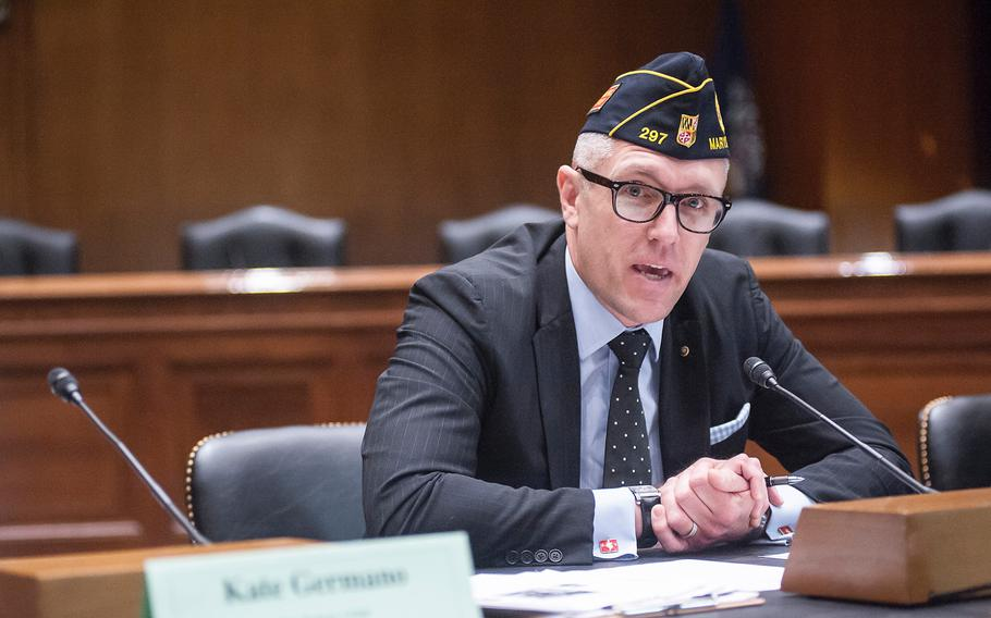 American Legion spokesman Joe Plenzler speaks during a panel discussion on Capitol Hill on April 5, 2017.