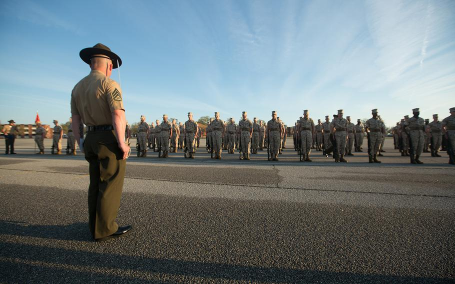 A Marine Corps drill instructor stands before his platoon at Parris Island, S.C., on March 22, 2017. A military jury on Wednesday, May 24, acquitted Sgt. Riley Gress, a former drill instructor at Parris Island, of charges of cruelty and maltreatment following a court-martial.