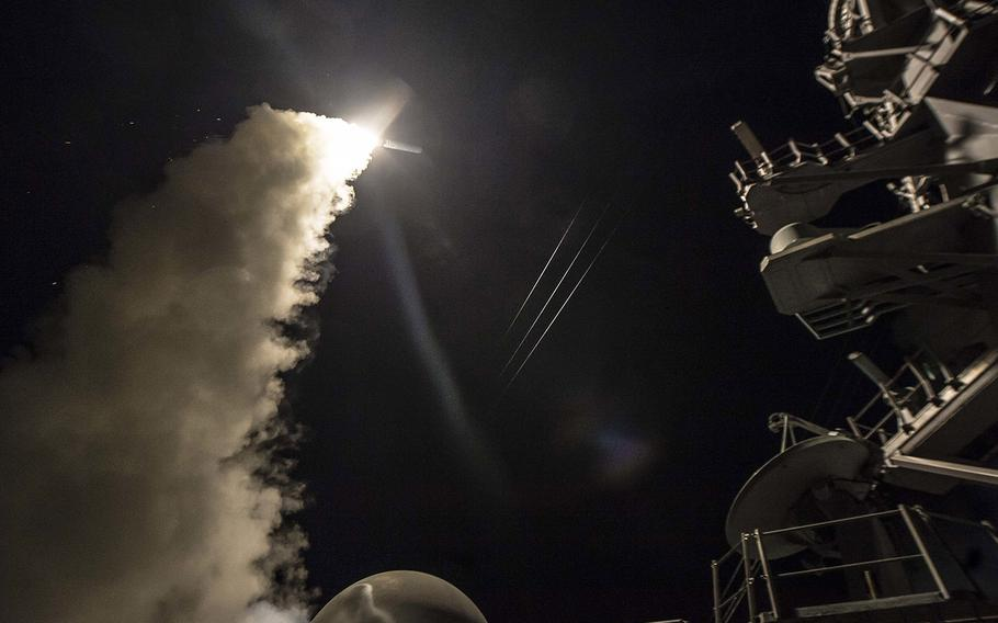 In an April, 2017 file photo, USS Ross fires a tomahawk land attack missile while conducting naval operations in the U.S. 6th Fleet area of operations in the Mediterranean Sea.
