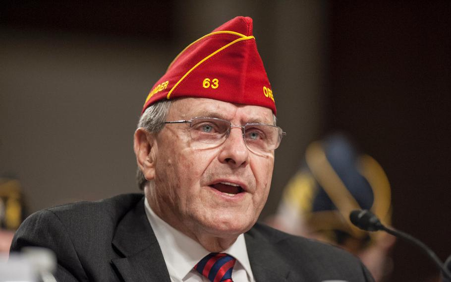 """American Legion National Commander Charles Schmidt addresses members of Congress on Capitol Hill on March 1, 2017. Speaking of provisions in the recent 2018 budget proposal that pertains to VA health services, Schmidt on Friday, May 26, said """"it is a 'stealth' privatization attempt, which the American Legion fully opposes."""""""