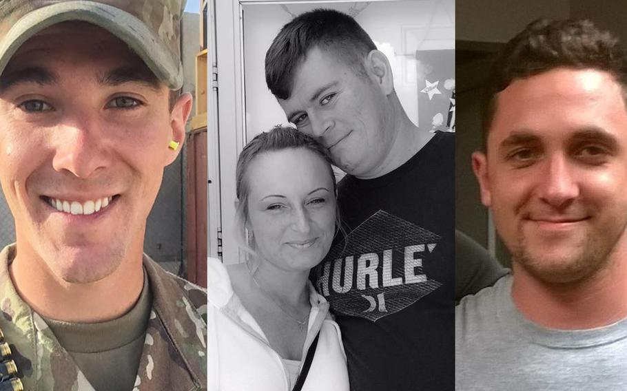 Cpl. Dillon C. Baldridge, from left, Sgt. William M. Bays and Sgt. Eric M. Houck were killed in a green-on-blue attack in Afghanistan on June 10, 2017.