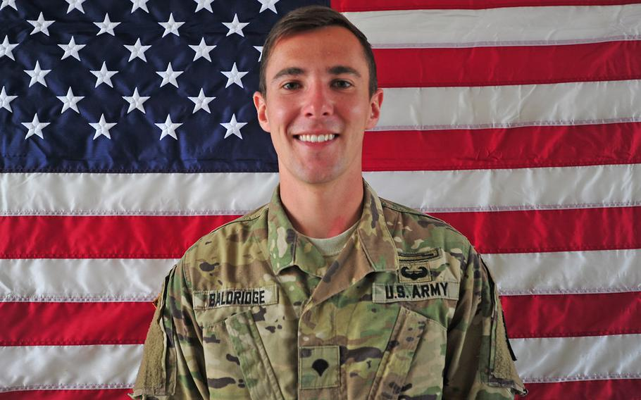 Cpl. Dillon C. Baldridge, pictured here as a specialist, was killed in a green-on-blue attack in Afghanistan on Saturday, June 10, 2017.