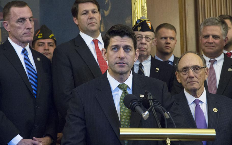 Backed by members of Congress and representatives of veterans' service organizations, House Speaker Paul Ryan speaks at a press conference on Capitol Hill following the passage by the House of the Department of Veterans Affairs Accountability and Whistleblower Protection Act, June 13, 2017.