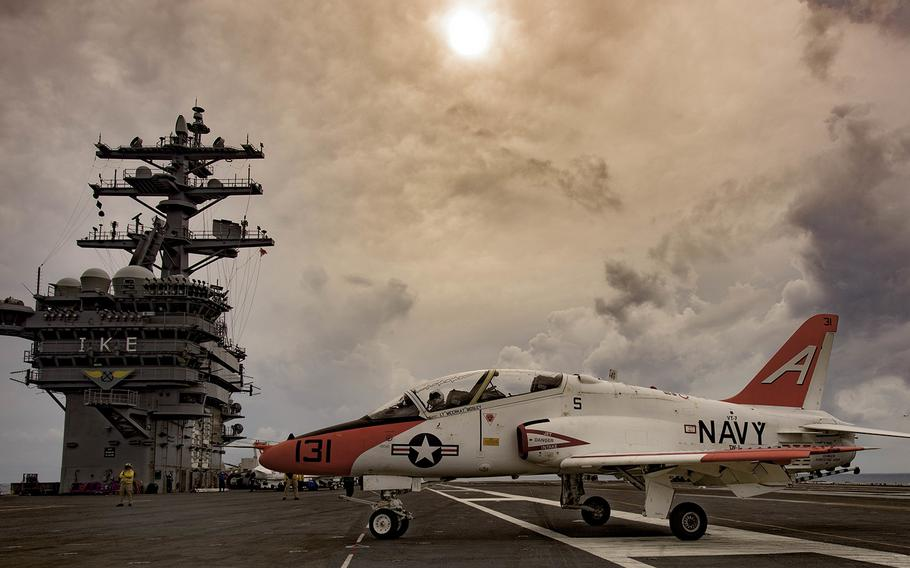 A T-45C Goshawk attached to Training Air Wing 1 moves across the flight deck of USS Dwight D. Eisenhower on Sept. 16, 2015.