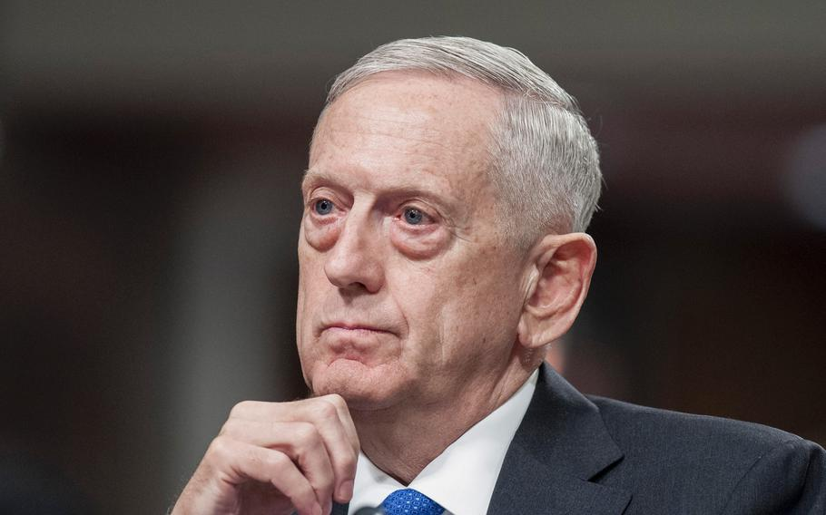 Defense Secretary Jim Mattis testifies before the Senate Armed Services Committee during a hearing on Capitol Hill in Washington, D.C., on Tuesday, June 13, 2017.