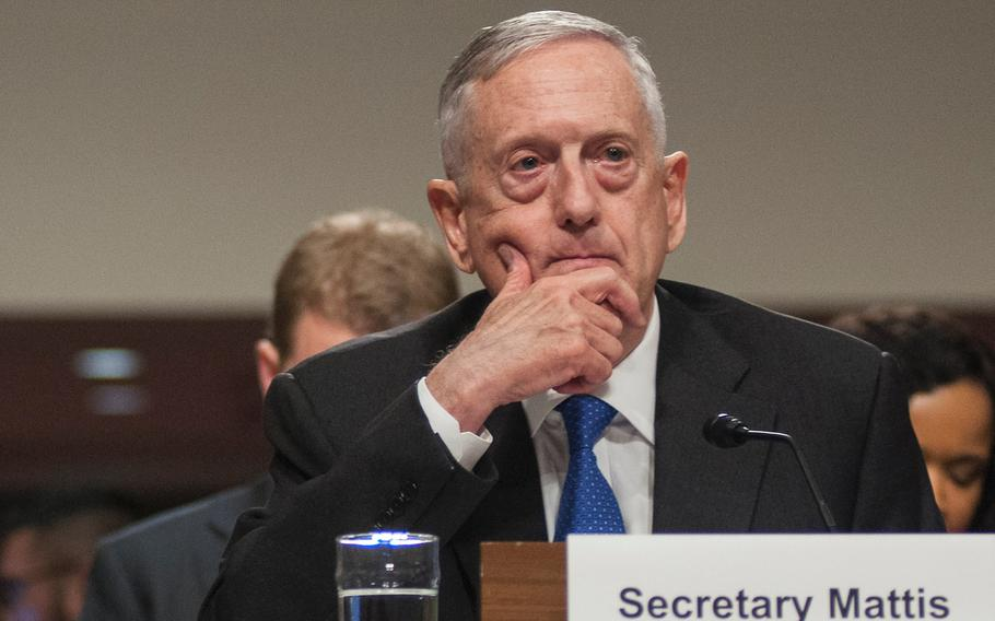Defense Secretary Jim Mattis attends a Senate Armed Services Committee hearing on Tuesday, June 13, 2017, on Capitol Hill in Washington, D.C.