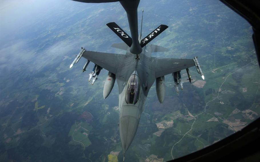 An F-16 Fighting Falcon aircraft refuels from a KC-135R Stratotanker on June 7, 2017, over Latvia during BALTOPS, a U.S.-led exercise designed to help nations work together to better protect the Baltic region.